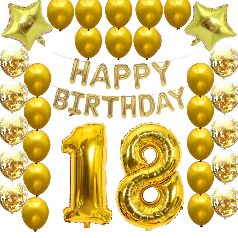 18th 30th DIY Happy <font><b>Birthday</b></font> Party Decorations Balloon Kit 16th 20th 50th 60th <font><b>70th</b></font> Party Decor 40inch Rose Gold Foil Balloon image