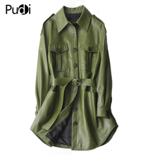Coat-Suit Trench-Clothes Real-Sheep-Skin-Jacket Genuine-Sheep-Leather Women New PUDI