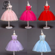 Skyyue Flower Girl Dress for Wedding Pink Tulle Tank Ball Gown Beading Embroidery Kids Party Communion Dresses Princess 2019 838