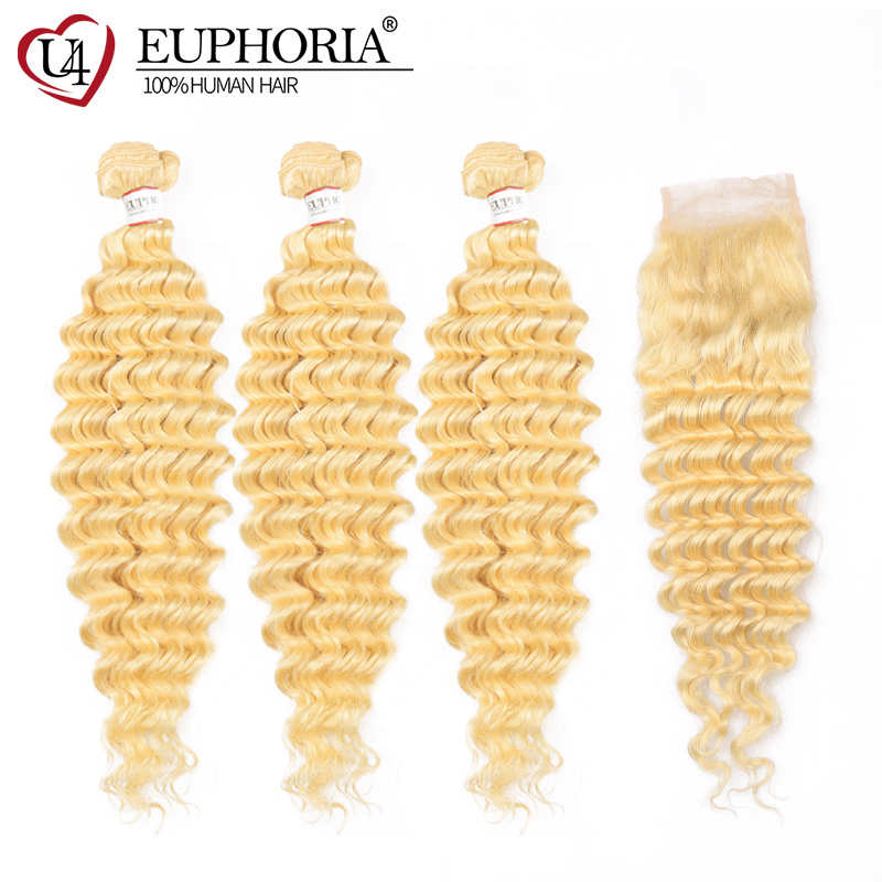 Brazilian 613 Platinum Blonde Deep Wave Hair Bundles With Closure 100% Remy Human Hair 3 Bundles With Lace Closure 4x4 EUPHORIA image