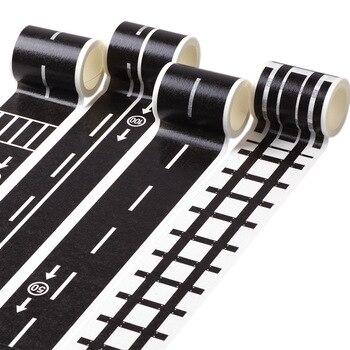 5m estrada ferroviária tráfego fita washi adesivo diy estrada tráfego estrada adesivo fita adesiva carro adesivos para crianças brinquedo trem do carro