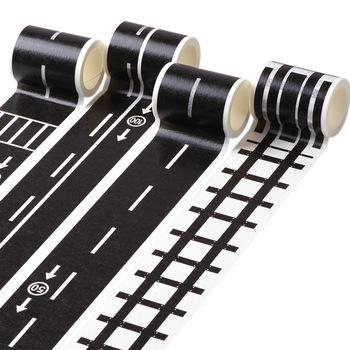 5m kolejowy ruch drogowy taśma Washi taśma naklejka DIY ruch drogowy droga taśma samoprzylepna z wzorami naklejki samochodowe na dziecięcy zabawkowy samochód pociąg tanie i dobre opinie abay CN (pochodzenie) 4 8CM Traffic 48mm About 20g T014