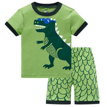 Green Dino Children Clothes Sets Dinosaur Boys Pajamas 2-Pieces Suit Baby Boy pijama Kids Tee Shirt Shorts Pant 100% Cotton