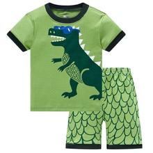 Green Dino Children Clothes Sets Dinosaur Boys Pajamas 2-Pieces Suit Baby Boy pijama Kids Tee Shirt Shorts Pant 100% Cotton
