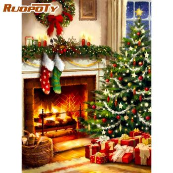 RUOPOTY 60x75cm Painting By Numbers Kits Christmas Tree Scenery Picture Diy Framed On Canvas Acrylic Coloring Home Wall Photo
