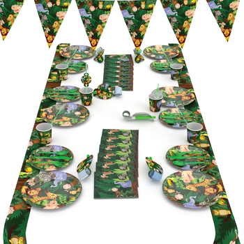 2019 Cute Lovely Jungle animals party Plates Napkins Cups lion party flag tableware Set for Kids happy Birthday Party Supplies image