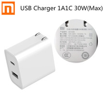 цена Original Xiaomi USB Charger 1A1C 30W(Max) Smart Output PD 2.0 QC 3.0 Quick Charging Type-C 5V=3A 9V=3A 15V=2A 12V=2.25A Type-A онлайн в 2017 году