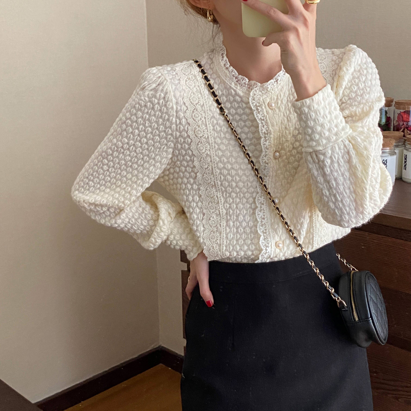 Hb4e5dd7ed7c543bf827d8e2fbab37cca2 - Spring / Autumn O-Neck Long Sleeves Lace Buttons Blouse