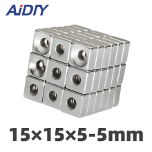 AI DIY 5/10/50 Pcs 15 x 5mm Hole 4mm  N35 Neodymium Magnet Super Strong Power Ring Block Rare Earth Magnets * 15*5-5mm