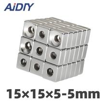 AI DIY 5/10/50 Pcs 15 x 15 x 5mm Hole 4mm  N35 Neodymium Magnet Super Strong Power Ring Block Rare Earth Magnets 15 * 15*5-5mm цена 2017