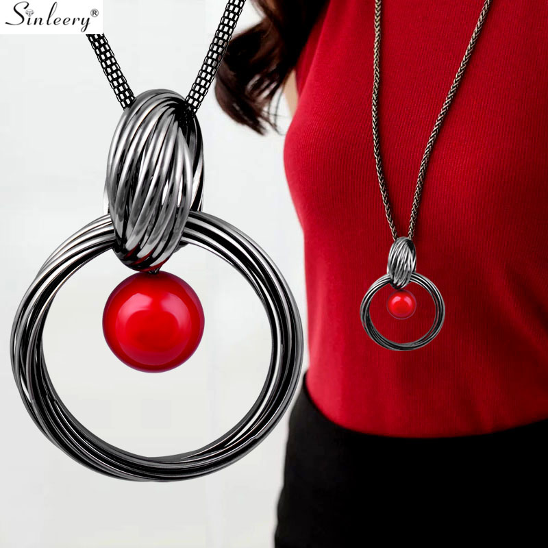 SINLEERY Big Circle Round Pendant Necklace Black Gun Color Chain Red Acrylic Ball Long Neckalce For Women Jewelry MY080 SSH image