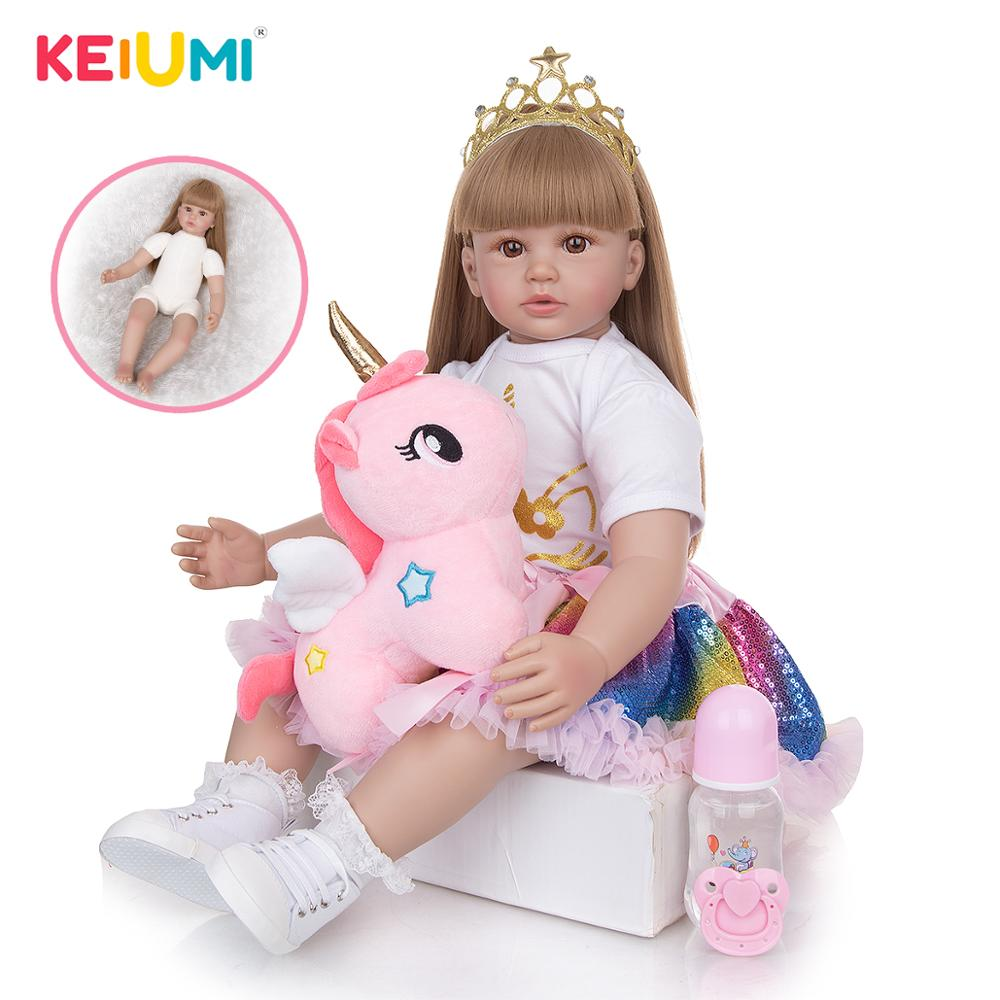 Кукла реборн KEIUMI с прямыми золотыми волосами, мягкая силиконовая кукла 60 см для новорожденных, детская игрушка, подарок на день рождения и Р...