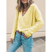 Женский трикотажный пуловер cinessd повседневный свободный Однотонный