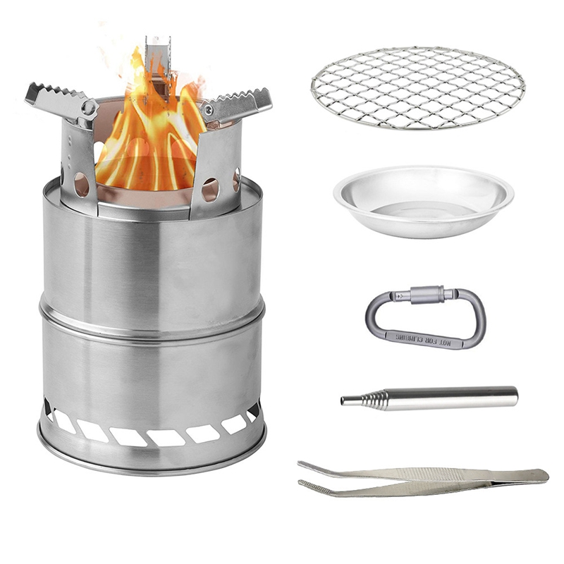 Camping Stove Camp Wood Stove Portable Foldable Stainless Steel Burning Stove with Blowing Firebar Hang Buckle for Outdoor Hikin