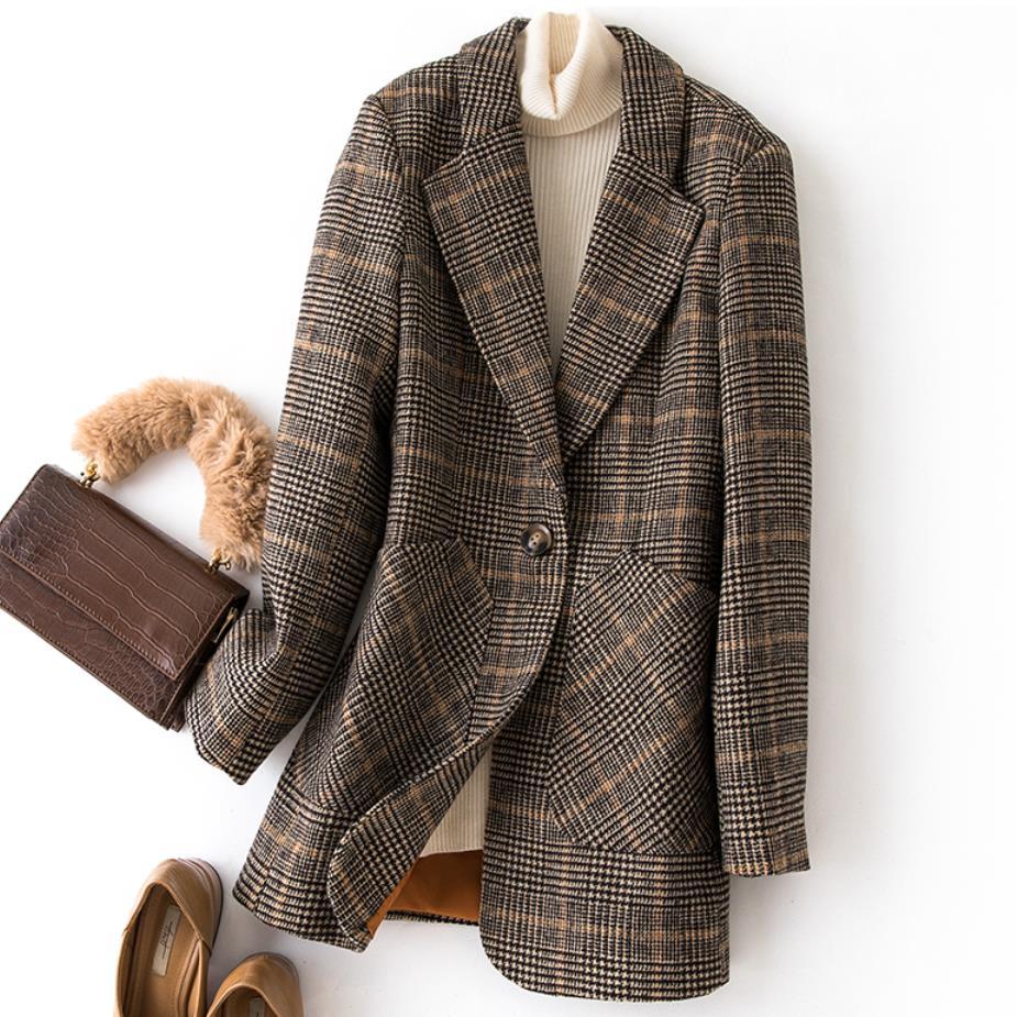 Plus Size 3XL!New Women Woolen Blazer Plaid Suit Coat Office Ladies Work Top Autumn Winter Women's Jackets And Coats