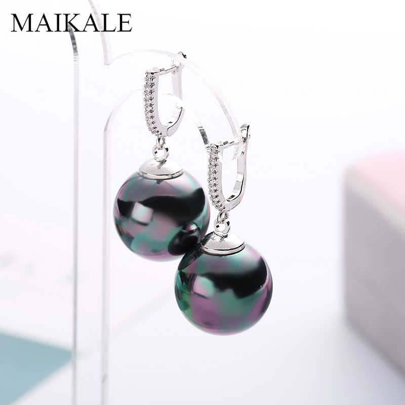 MAIKALE Ball Big Drop Earrings Pearl Gold Silver Color Cubic Zirconia Earrings For Women Party New Fashion Jewelry