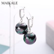 MAIKALE Ball Big Drop Earrings Pearl Gold Silver Color Cubic Zirconia For Women Party New Fashion Jewelry