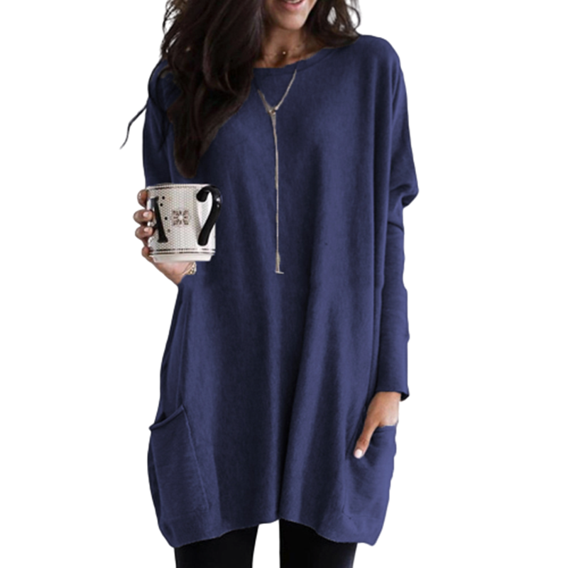 New Arrival Autumn Pocket T Shirts Long Women Solid Color Loose Casual Tshirt Top Fashion Clothes S-5XL