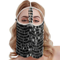 Sexy Women's Colorful Leaves Belly Dance Face Mask Costume Charming Veil Masks