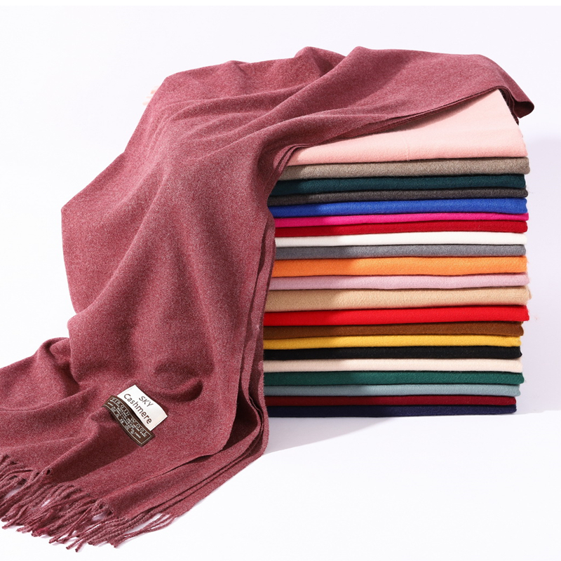 2020 winter scarf solid thick women cashmere scarves neck head warm hijabs pashmina lady shawls and