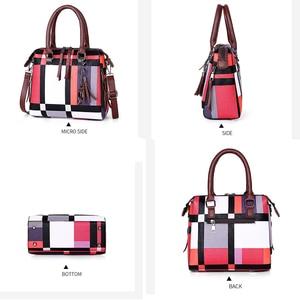Image 4 - Gradosoo チェック柄パターンハンドバッグ 4 セット女性革財布とハンドバッグ女性のタッセルショルダーバッグ女性クロスボディバッグ LBF651