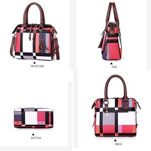 Image 4 - Gradosoo patrón de cuadros bolsos 4 juegos de cuero de las mujeres bolso mujer de hombro bolso de las mujeres bolso de LBF651