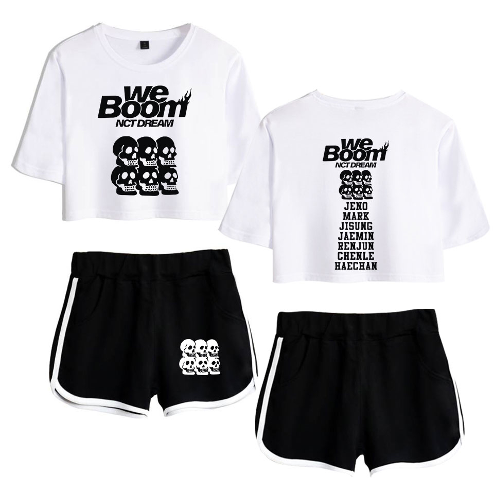 F.T KPOP NCT DREAM 2019 New Album WE BOOM 2D Print Leisure Women Two Piece Set Shorts+lovely T-shirts Hot Sale Clothes