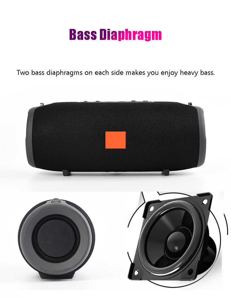 40W Wireless Bluetooth Speaker Portable Kolom Outdoor Tahan Air Speaker dengan FM Radio AUX Tf Usb Bass Subwoofer Loudspeaker