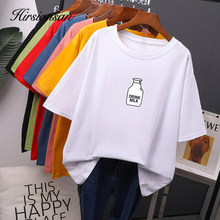 Hirsionsan 7 color Printed T Shirt Women 2020 New Harajuku Korean Oversized 100% Cotton Summer Tees Ins Soft Female Tops