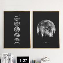 Minimalist Full Moon Poster Wall Decor Art Black White Moon Phases Prints Solar System Aesthetic Room De Canvas Painting Picture