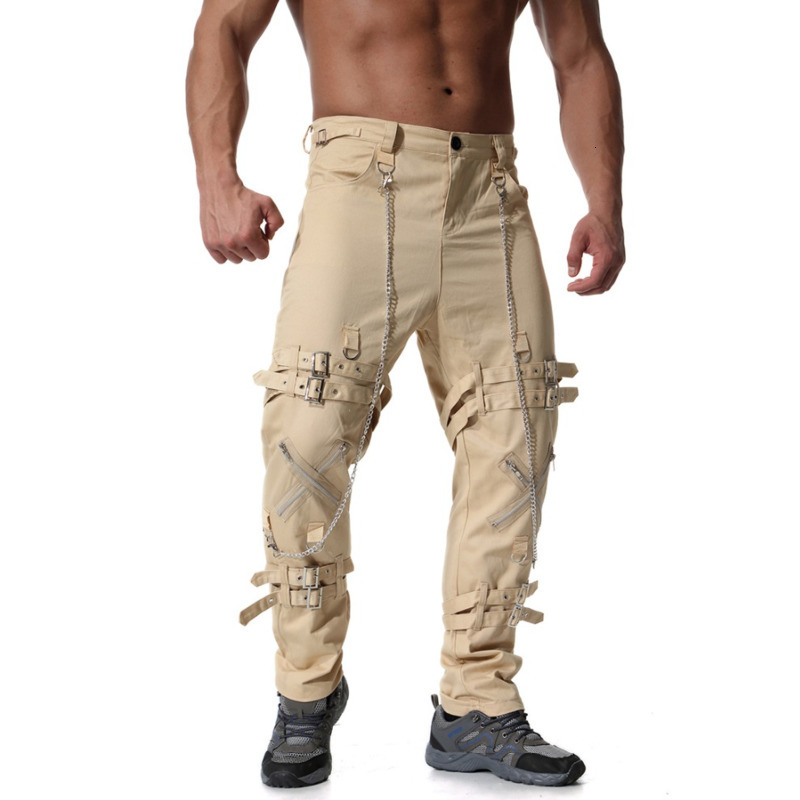Retro Steampunk Pants Men Spring Men Punk Rock Metal Chain Pants Hip Hop Streetwear Cargo Sweatpants Harem Joggers ME054