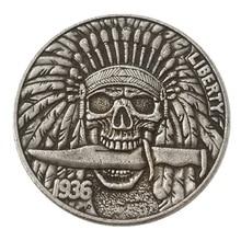 1936 американские 5 центов скелет индийский Бродяга Морган копирования монеты Старинные подарок монета для коллекции Drop доставка