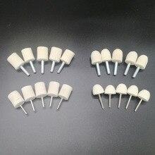 5 pçs mini cone & forma cilíndrica almofadas kits microfibra almofada de polimento para cuidados com o carro feltro polimento disco lã feltro almofadas de polimento