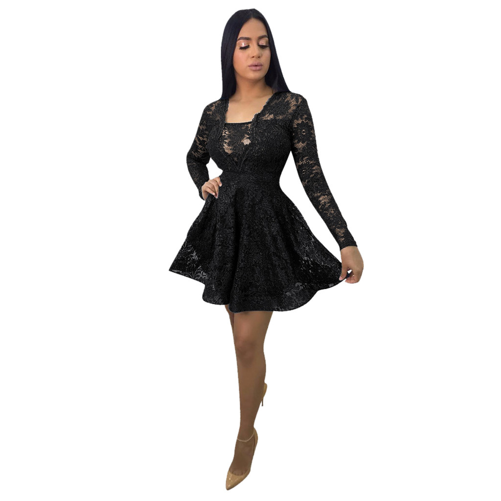 Plus Size Dresses Square Collar High Waist Long Sleeve Night Club Mini Sexy Lace Dress Women Party Black Dress Ladies #YL10
