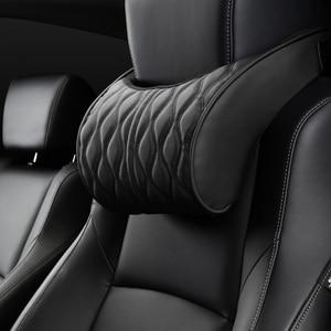 Image 3 - Almohada de espuma viscoelástica para reposacabezas de coche, juegos de soportes de asiento bordados de cuero, ajuste de cojín trasero, almohadas lumbares de descanso del cuello automático