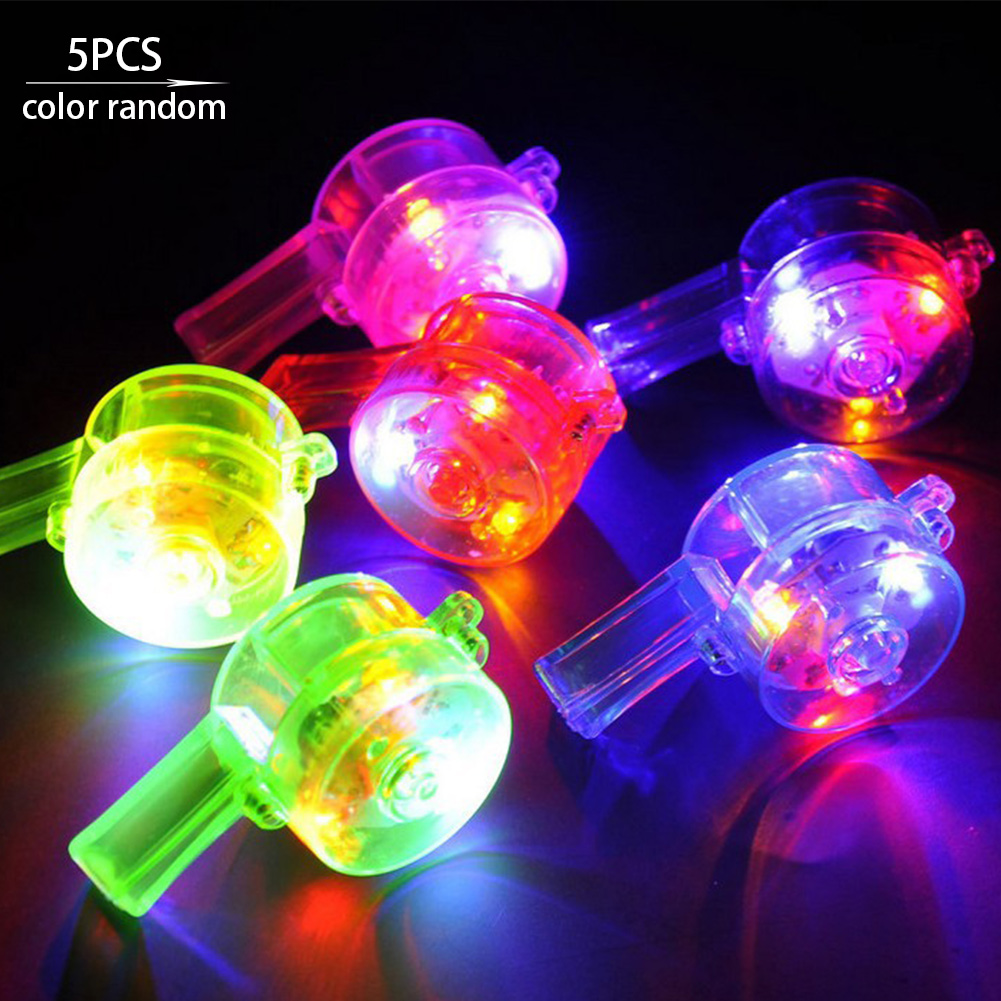 5Pcs Whistle Shine Concerts Camping Plastic Glow Holiday Fun Party Favors Bars Toy Night Clubs