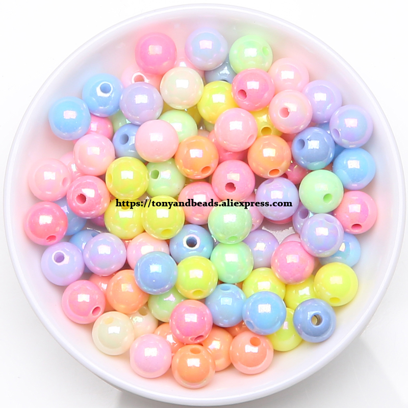 Wholesale multicolor Acrylic Rubber bead 6mm 8mm 10mm Spacer Making Beads