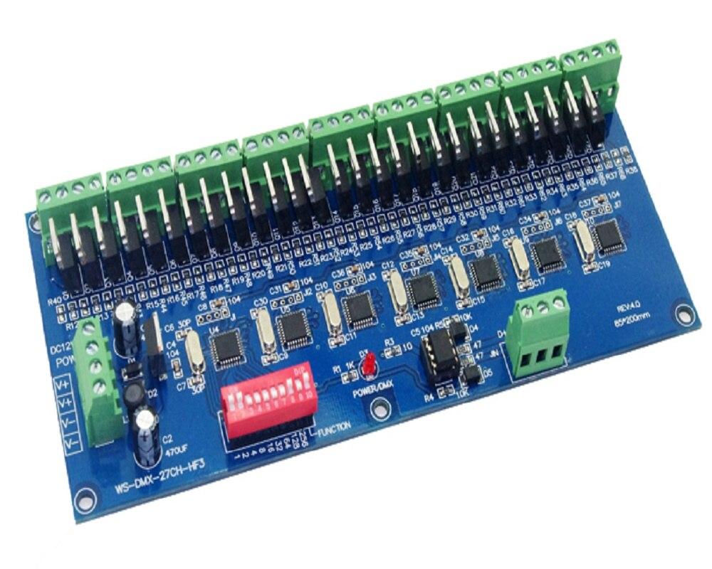 1PCS WS-DMX-27CH-HF3 10 KHZ 27 Channel HF3 High Frequency 27 Channel Dmx512 Decoder DC12V-24V