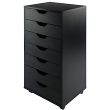【US Warehouse】7-Drawer Wood Filing Cabinet, Mobile Storage Cabinet for Closet / Office Black Color