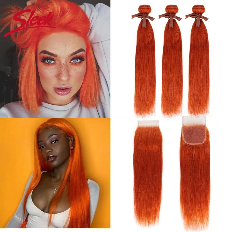 Sleek Mink Orange And Red Blonde Color Brazilian Straight Bundles With Lace Closure 8-28 InchesRemy Human Hair Weave Bunldes
