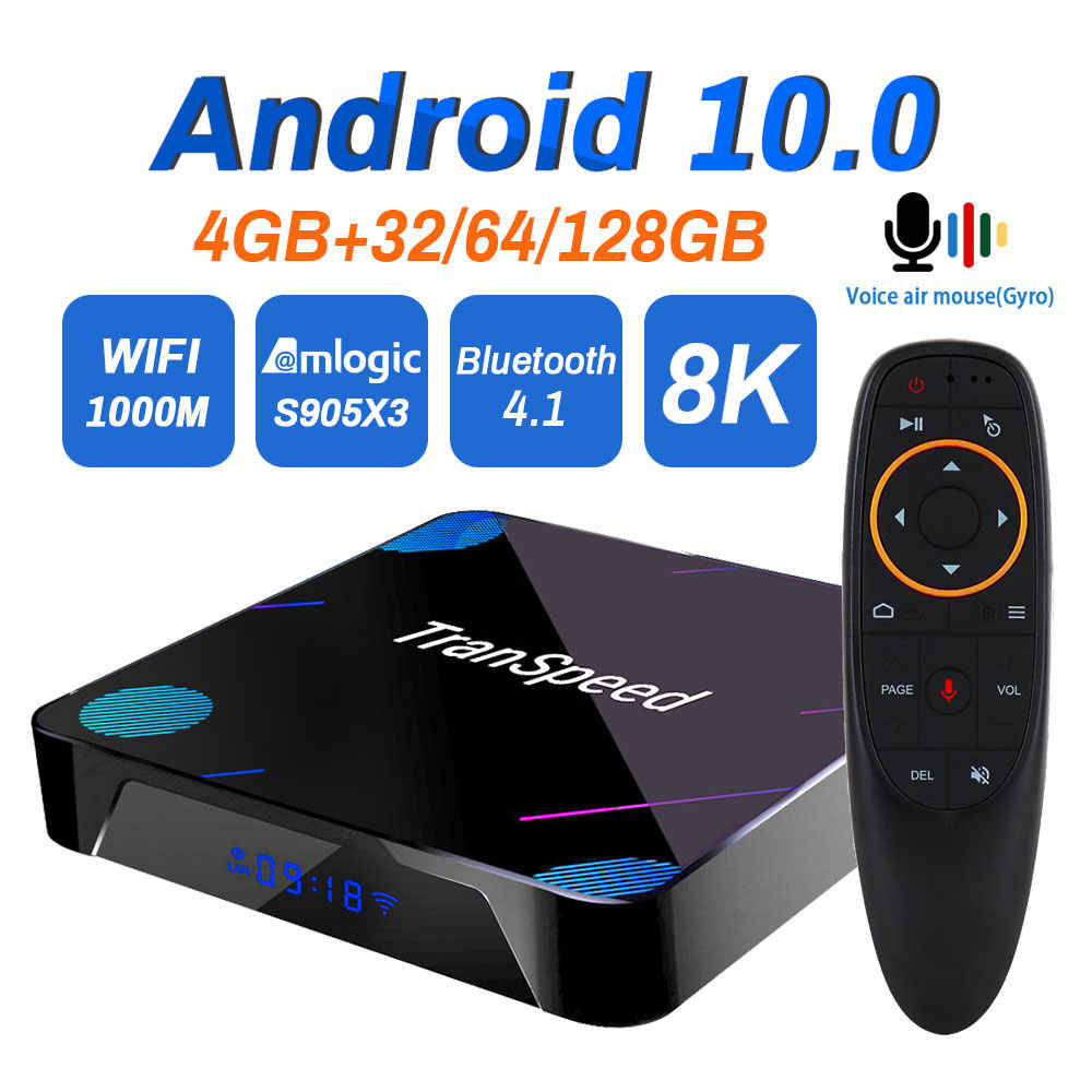Android 10.0 TV Box Transpeed X3 Plus 4K 8K 4GB 128G Amlogic S905X3 32G 64G Bluetooth 1000M Wifi 1000M Ethernet Voice Assistant