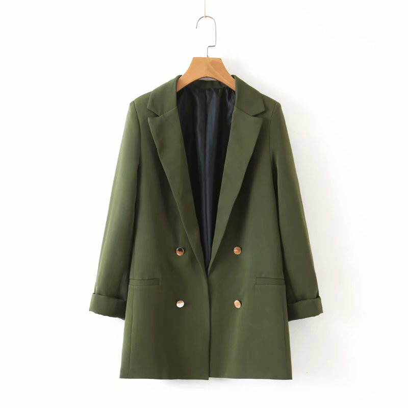 Womens Chic Army Green Blazer Autumn Winter Decorate Button Open Stitch Pocket Back Split Female Suit Office Ladies Blazers