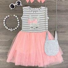 Dress cute new fashion kids girls summer stripe rabbit patch