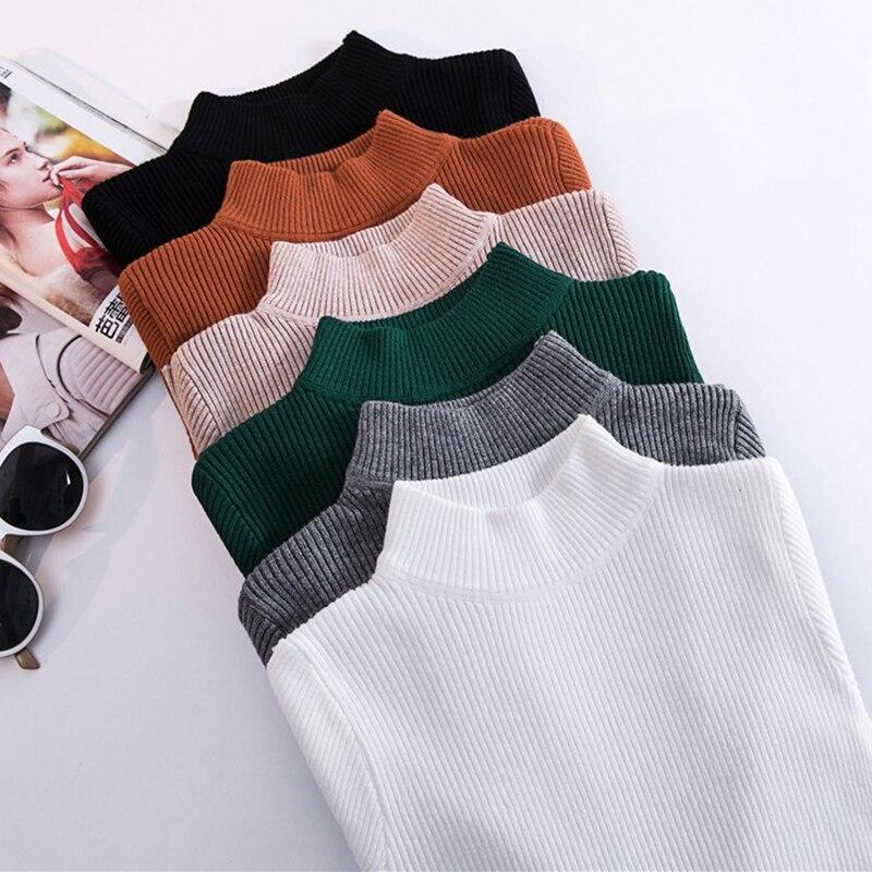 Осень Зима Тонкий вязаный женский пуловер Плюс размер водолазка свитер женский базовый джемпер Теплые Топы