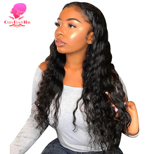 QUEEN BEAUTY Brazilian Deep Wave Wig 13x6 Transparent Lace Front Human Hair Wigs Pre Plucked Remy 150% Density Glueless Lace Wig(China)