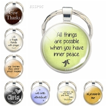 Bible verse keychain inspirational belief quotes key ring letters pendant Christian Catholic Islamic Muslim Church souvenir gift men s stainless steel ring rotatable ring bible verse ring bible verse cross ring