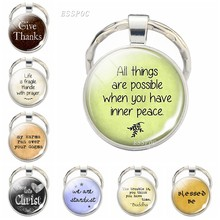 Bible verse keychain inspirational belief quotes key ring letters pendant Christian Catholic Islamic Muslim Church souvenir gift(China)