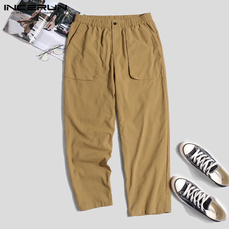 INCERUN Men's Pants Cotton Linen Joggers Vintage Streetwear Hip-hop Elastic Waist Pockets Casual Pants Men Solid Loose Trousers
