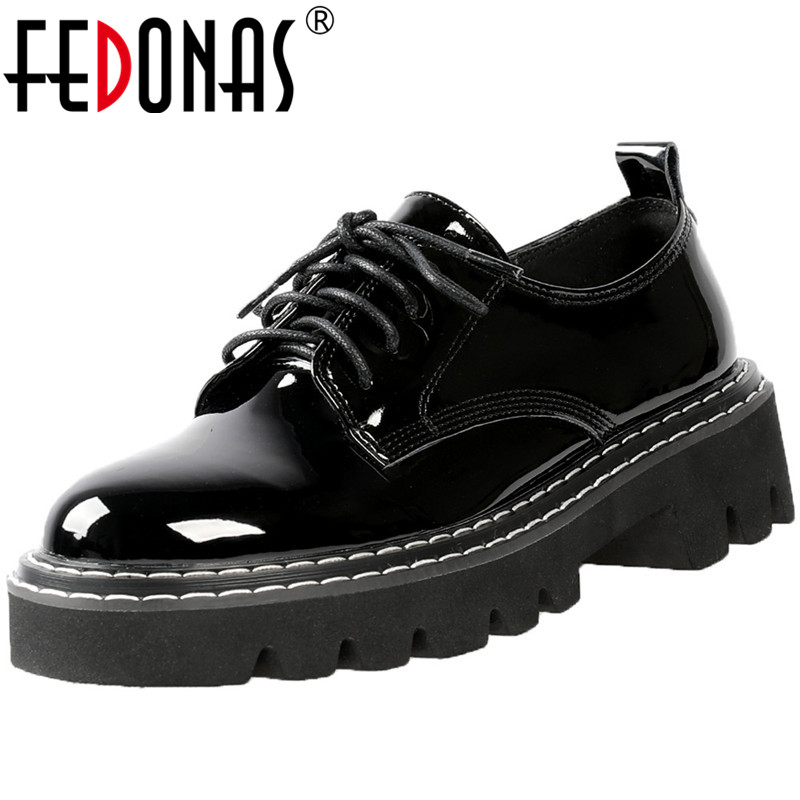 FEDONAS  New Arrival Women Vintage Brand Working Party Pumps Spring Summer Cross-Tied Shoes Patent Leather Shoes Woman