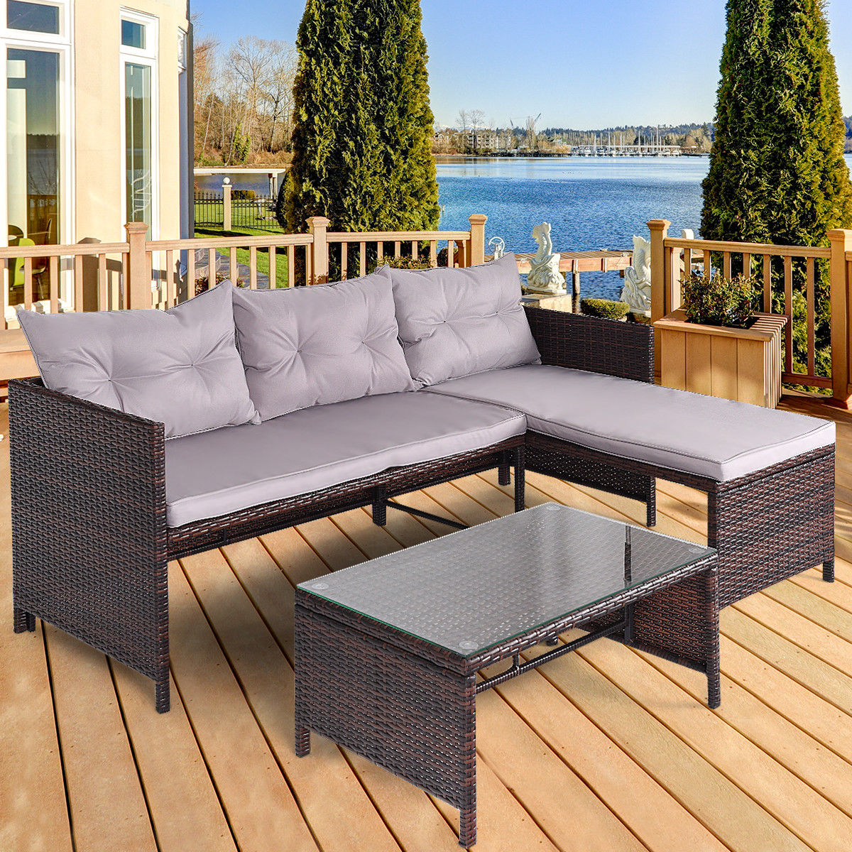 Costway 3 PCS Outdoor Rattan Furniture Sofa Set Lounge Chaise Cushioned Patio Garden New